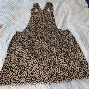 FOREVE 21 Cheetah Print Overall Denim Dress, XXL